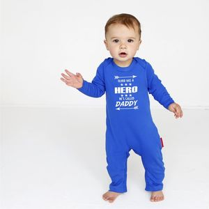 Personalised Daddy's My Hero Baby Grow - summer sale