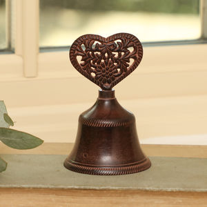 6th Anniversary Cast Iron Heart Bell - art & decorations
