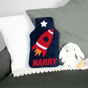 Space Rocket Hot Water Bottle Cover Personalised
