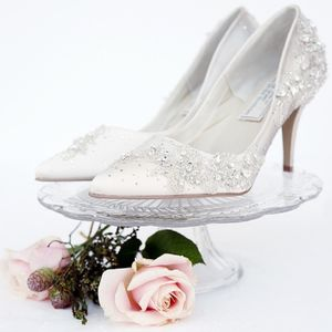 Cinders Crystal Encrusted Court Shoes - bridal shoes