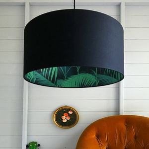 Palm Jungle Silhouette Lampshade In Emerald Green - lighting
