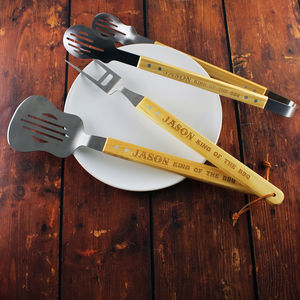 Personalised Guitar Bbq Set Of Tools