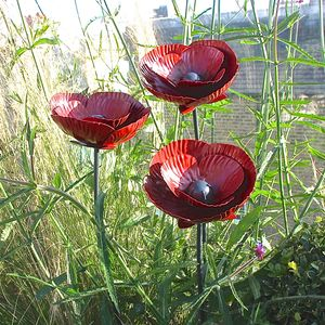 Three Poppy Sculptures - sculptures & ornaments
