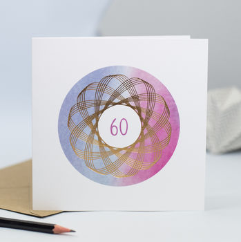 60th Birthday Card For Him Or Her With Gold Foiling