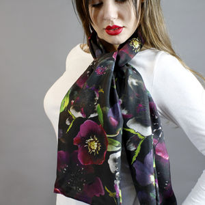 Midnight Floral Botanical Long Silk Scarf