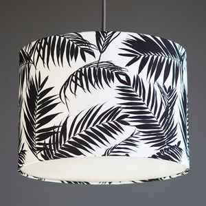 Black And White Tropical Leaf Drum Lampshade - ceiling lights
