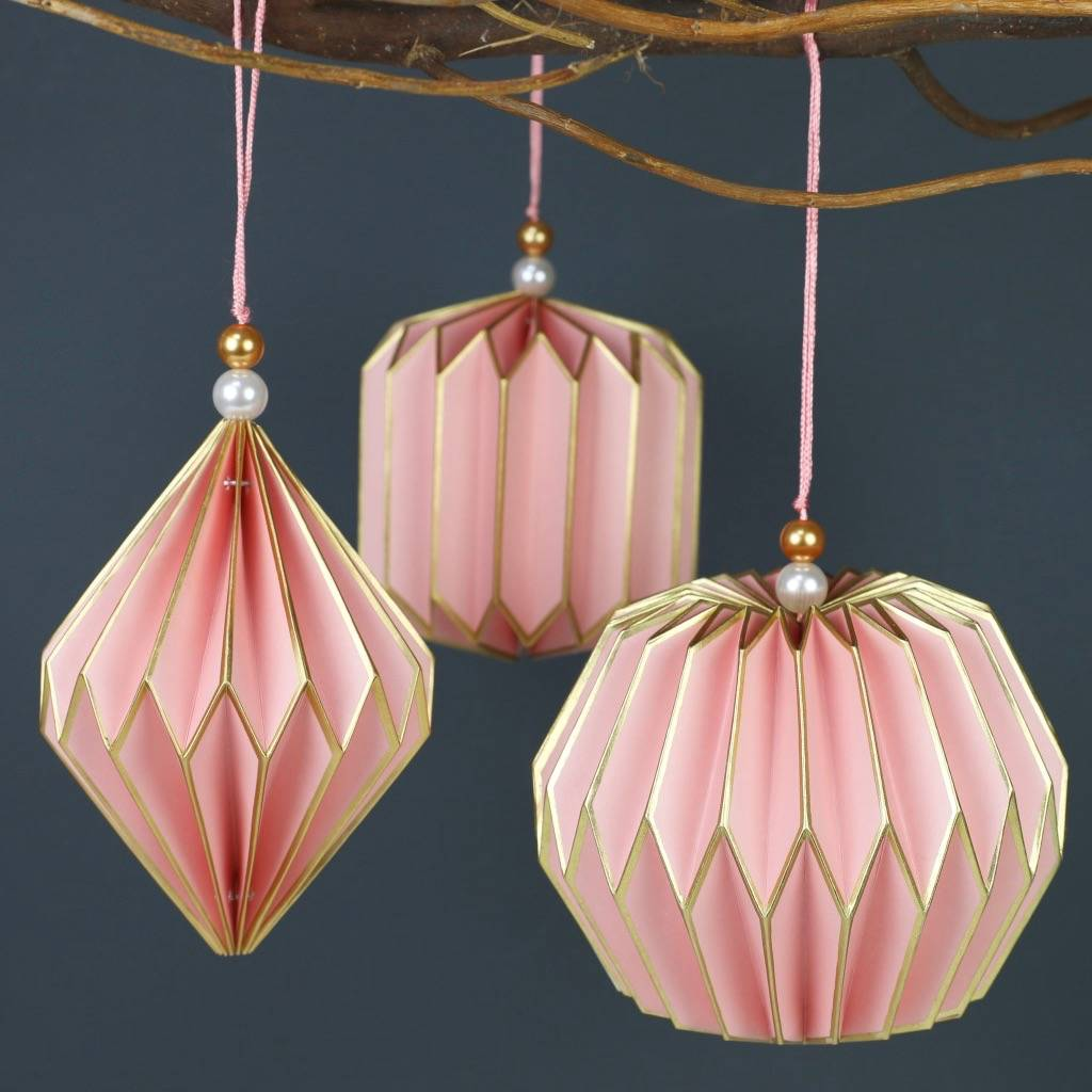 set of three geometric paper hanging decorations by lisa angel  notonthehighstreet.com