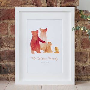 Personalised Bear Family Print - baby's room
