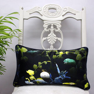Mouse In The Undergrowth Silk Luxury Botanical Cushion