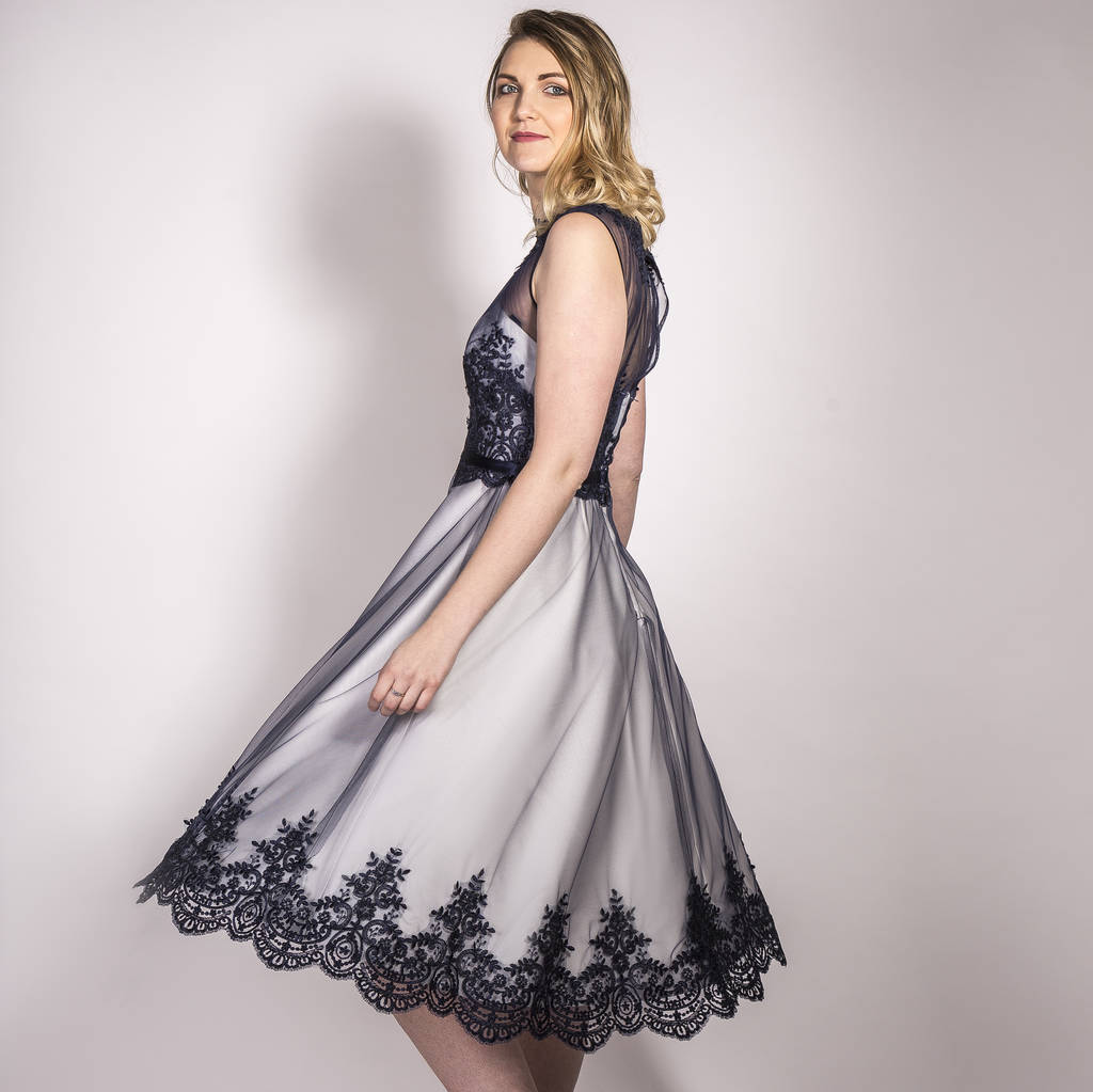 navy and ivory lace and satin occasion dress lili dress by cherilyn leeson   2657be47458