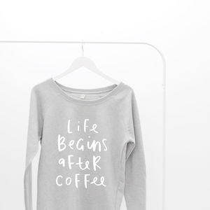 Life Begins After Coffee Oversized Women's Sweater