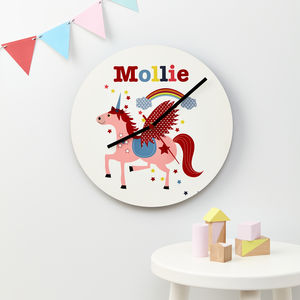 Girls Personalised Unicorn Wall Clock - bedroom