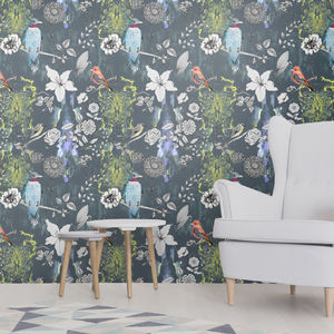 Birds And Flowers Design Wallpaper - home decorating