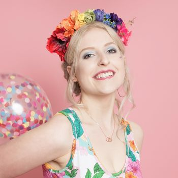 Floral Crown Fascinator In Rainbow