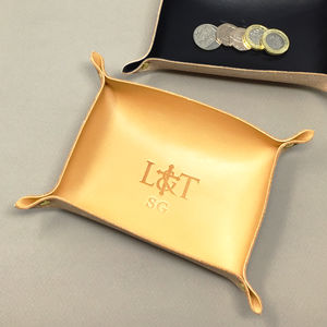 Personalised Leather Coin / Jewellery Tray - bedroom