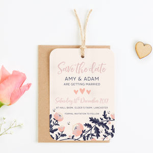 Blush And Navy Floral Save The Date With Gems
