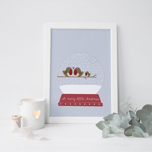 Personalised Robin Family Snow Globe Print