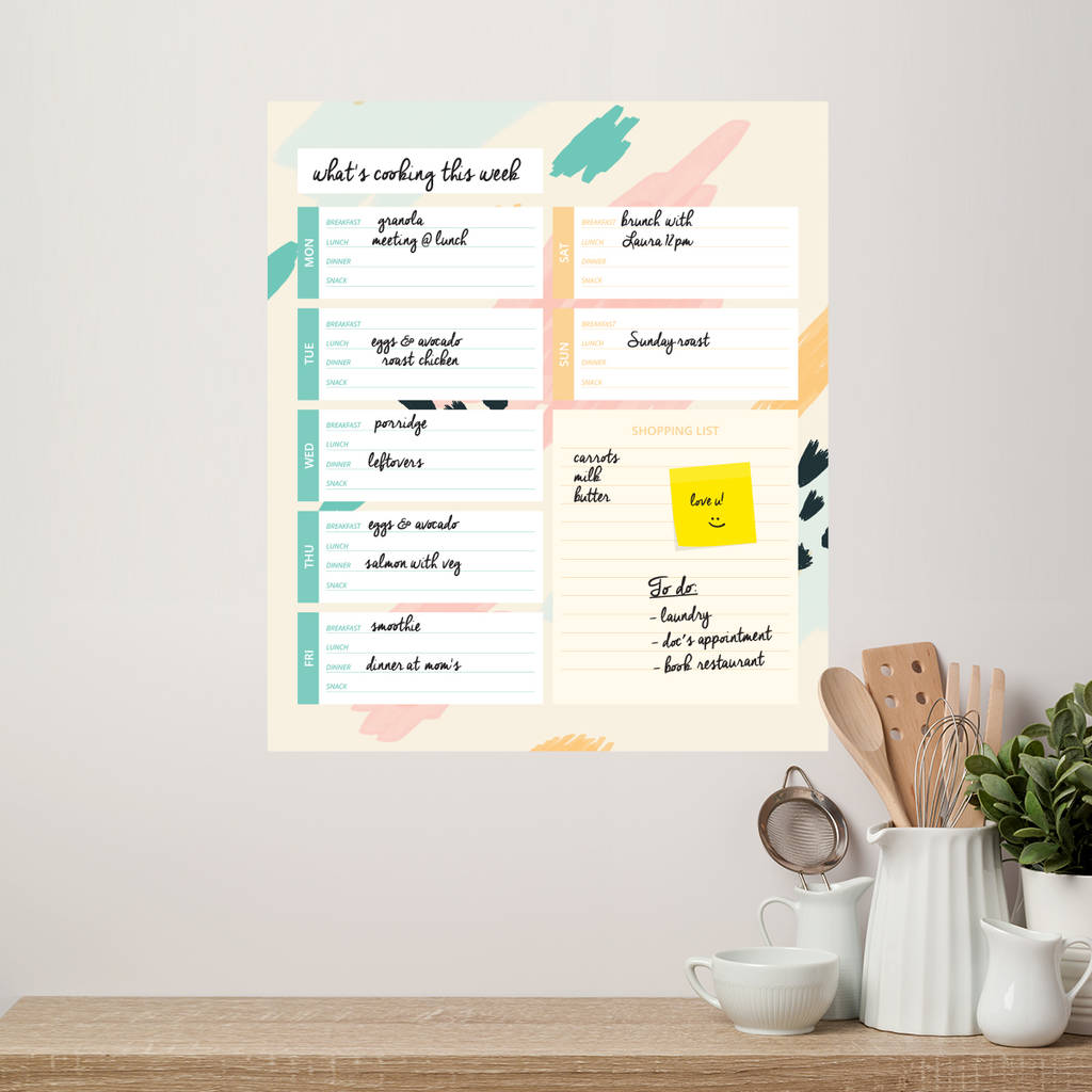 Kitchen Meal Planner Whiteboard Wall Decal  sc 1 st  Notonthehighstreet.com & kitchen meal planner whiteboard wall decal by sirface graphics ...