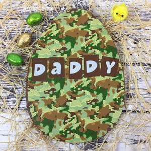 Personalised Large Chocolate Easter Egg With Camouflage
