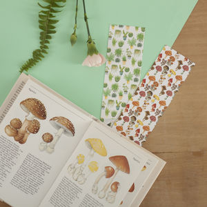 Mushrooms And Plants Reversible Bookmark
