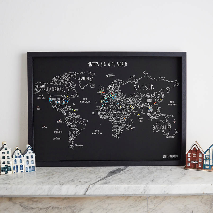 personalised world travel map with pins by louisa elizabeth – World Map Travel Pins