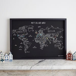 Personalised World Travel Map With Pins - treasured locations & memories