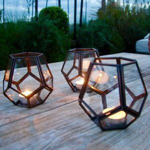 Bronze Geometric Garden Tealight Holder - christmas lighting