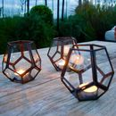 Bronze Geometric Garden Tealight Holder