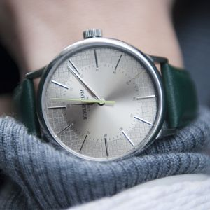 'Confluence' Silver And Green Unisex Watch - new in fashion