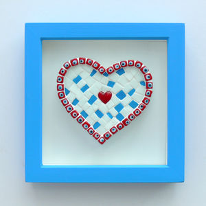 Framed Beads Heart Mosaic Picture