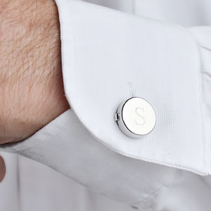 Monogram Personalised Button Cover Cufflinks - cufflinks