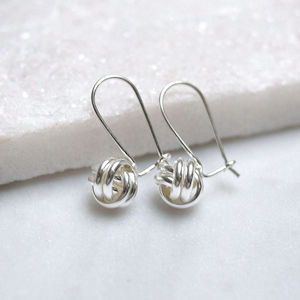 Sterling Silver Love Knot Drop Earrings - earrings