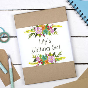 Personalised Floral Burst Writing Set - notelets & writing paper