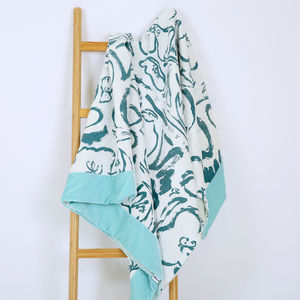 Screen Printed Rosehip And Poppy Throw