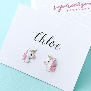 Sterling Silver Personalised Pink Unicorn Earrings - earrings