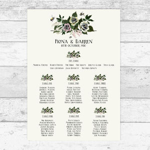 Bumble Bee Bouquet Personalised Table Plan - new in wedding styling