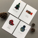 Set Of Four Handmade Scottish Christmas Cards