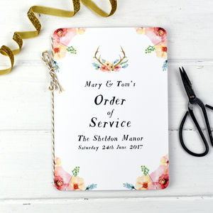 Watercolour Wilderness Order Of Service Booklet