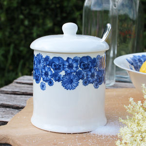 'Floral' Bone China Covered Sugar Pot - dining room