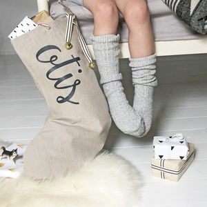 Personalised Name Linen Christmas Stocking