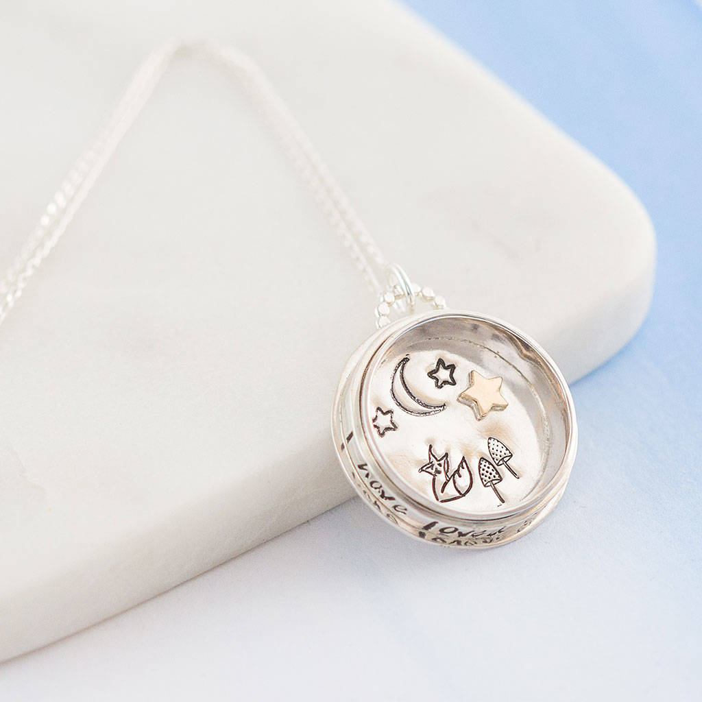 Personalised Starry Foxes Spinning Compass Pendant