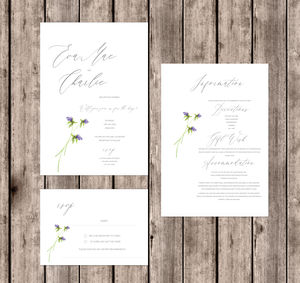 Floral Breeze Whimsical Natural Wedding Invitations