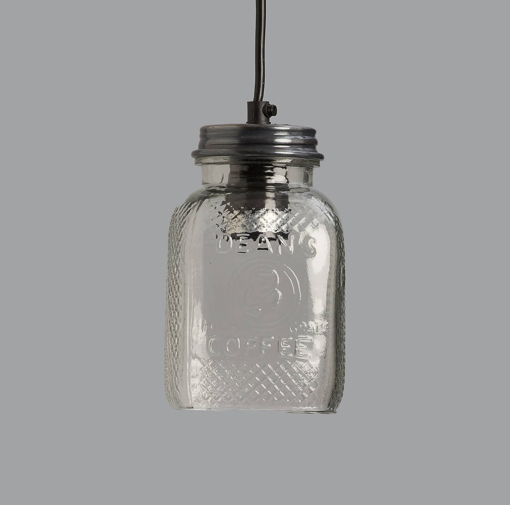 Glass Coffee Jar Pendant Light