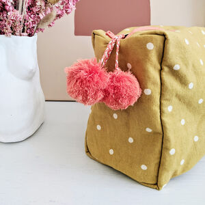 Mustard Spot Wash Bag, Block Printed, Ethically Made