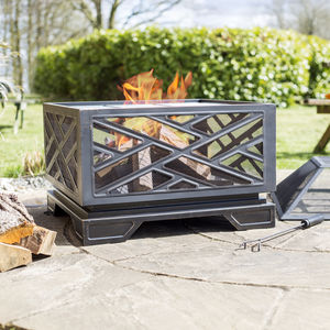 Square Brushed Bronze Effect Deep Steel Firepit - fire pits & outdoor heating