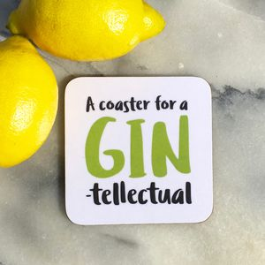 'The Gin Tellectual' Drinks Coaster - kitchen