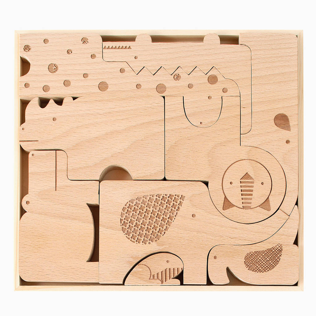 Wooden Safari Animal Puzzle Play Set By The Little House