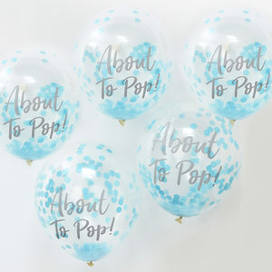 Blue About To Pop Baby Shower Confetti Balloons