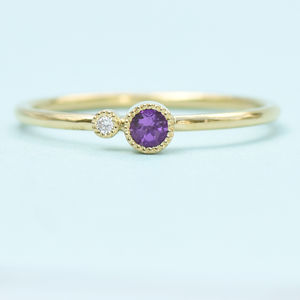 Amethyst Stacking Ring, Diamond Accent, Solid 18ct Gold