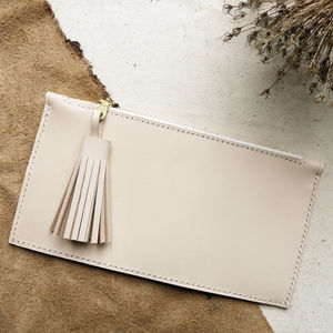 Leather Tassel Zip Purse